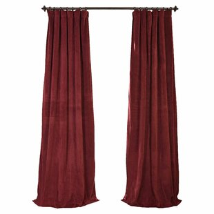 Albert Solid Velvet Blackout Thermal Rod Pocket Single Curtain Panel