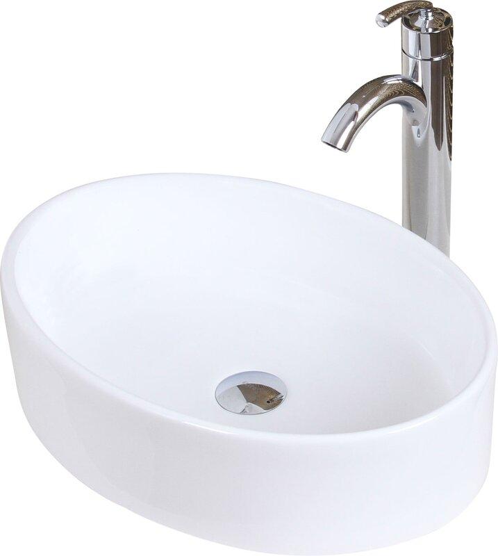 Lavabo de salle de bain vasque ovale en céramique