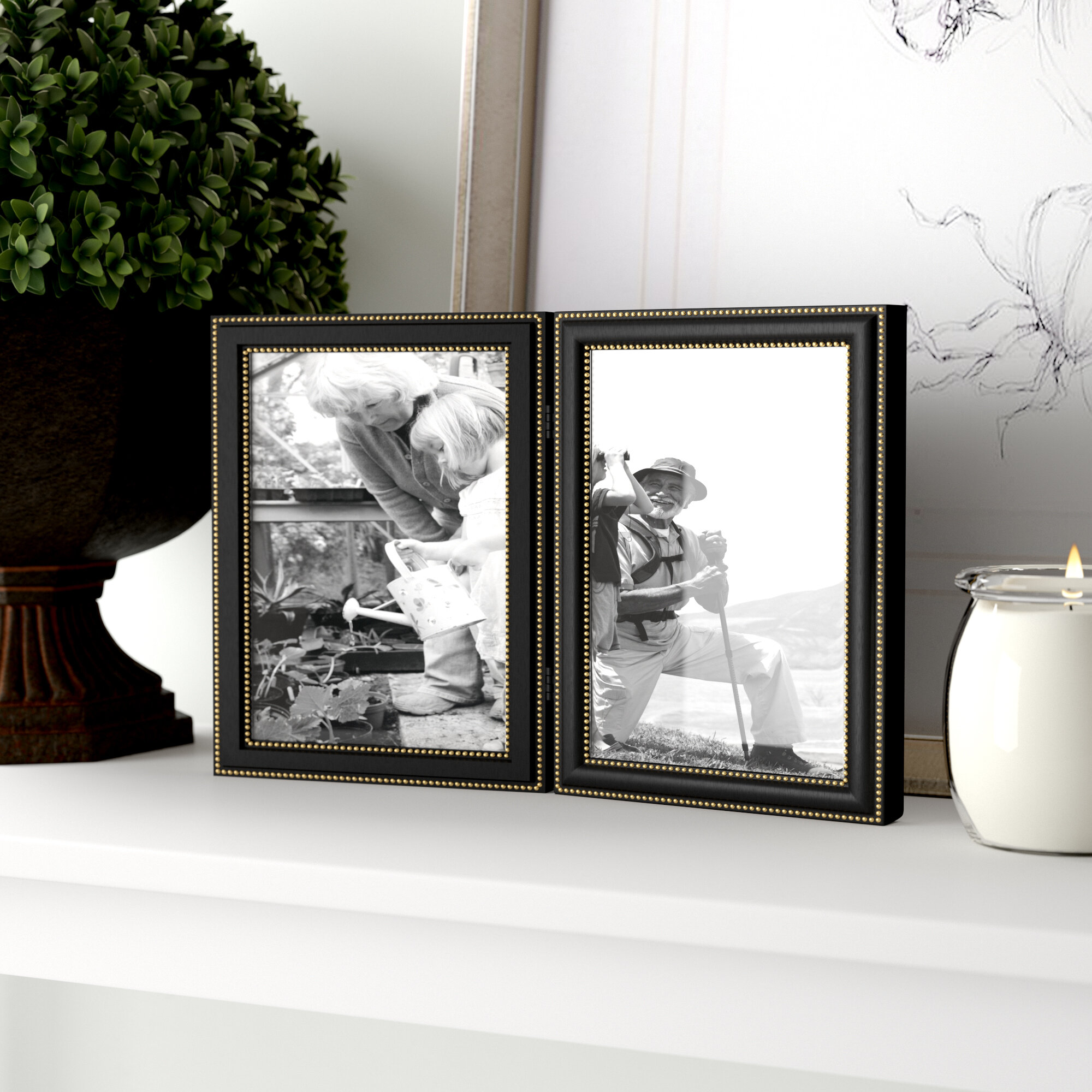 Three Posts Hinged Double Vertical Picture Frame & Reviews | Wayfair
