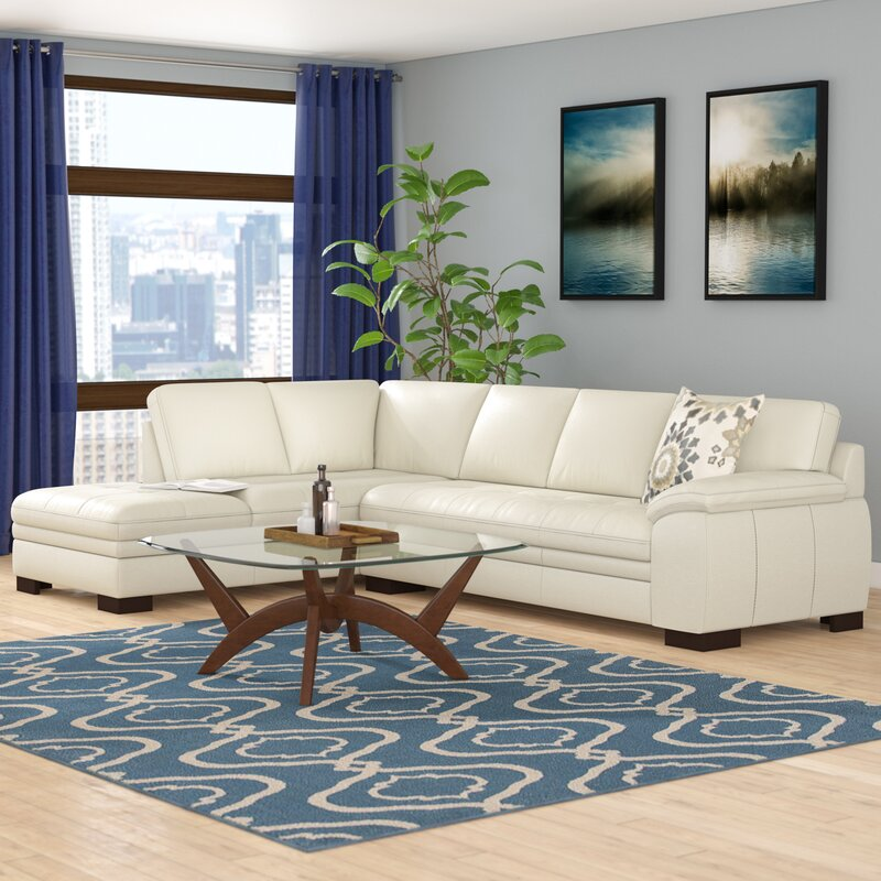 contemporary chaise top grain leather leather sectional sofas youll love wayfair