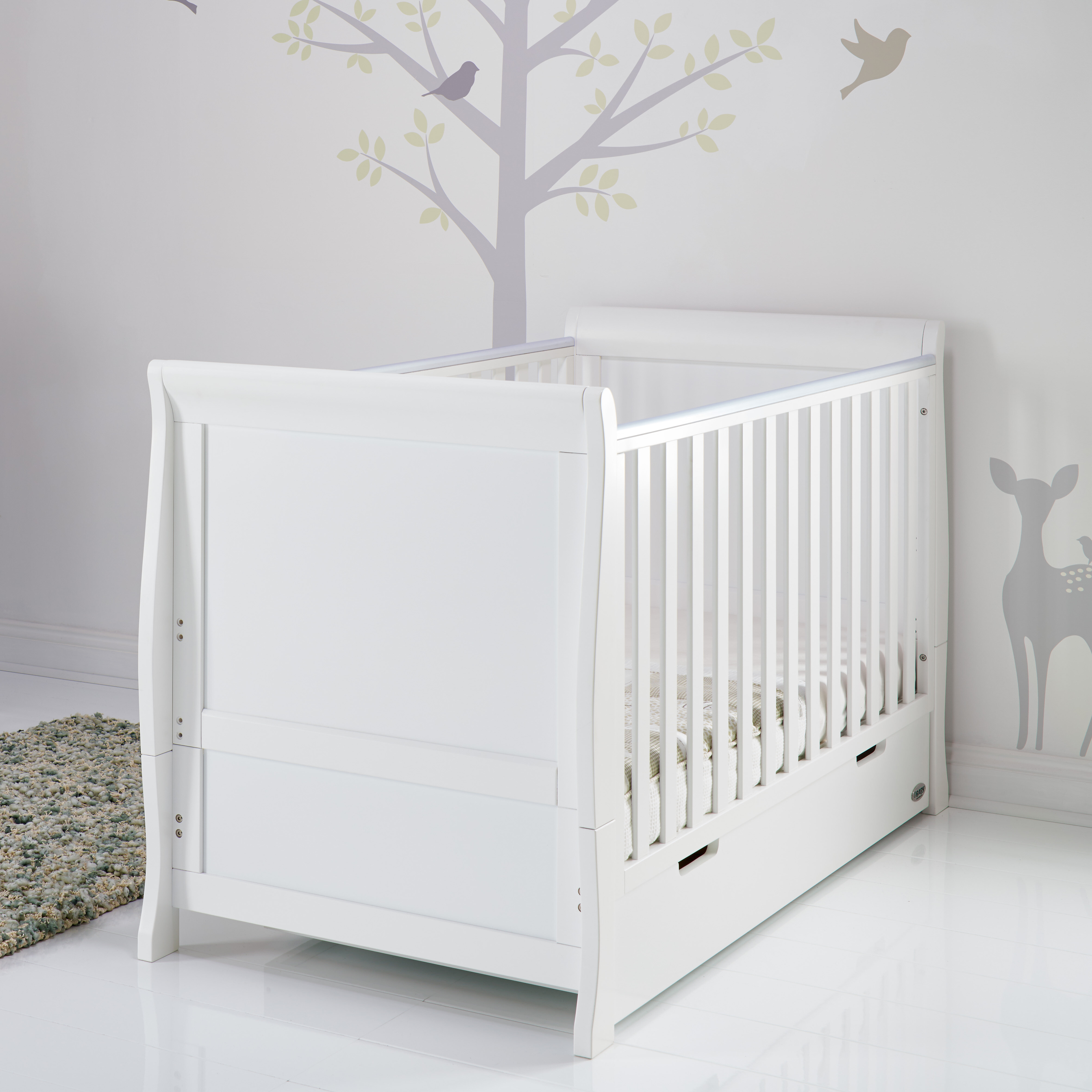 - Obaby Stamford Sleigh Classic Cot Bed Furniture Taupe Grey