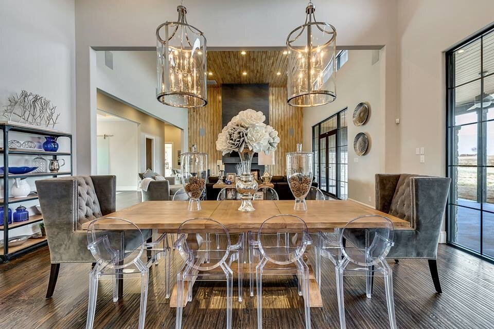 Glam Dining Room Design Photo By Behind The Curtains Design Llc