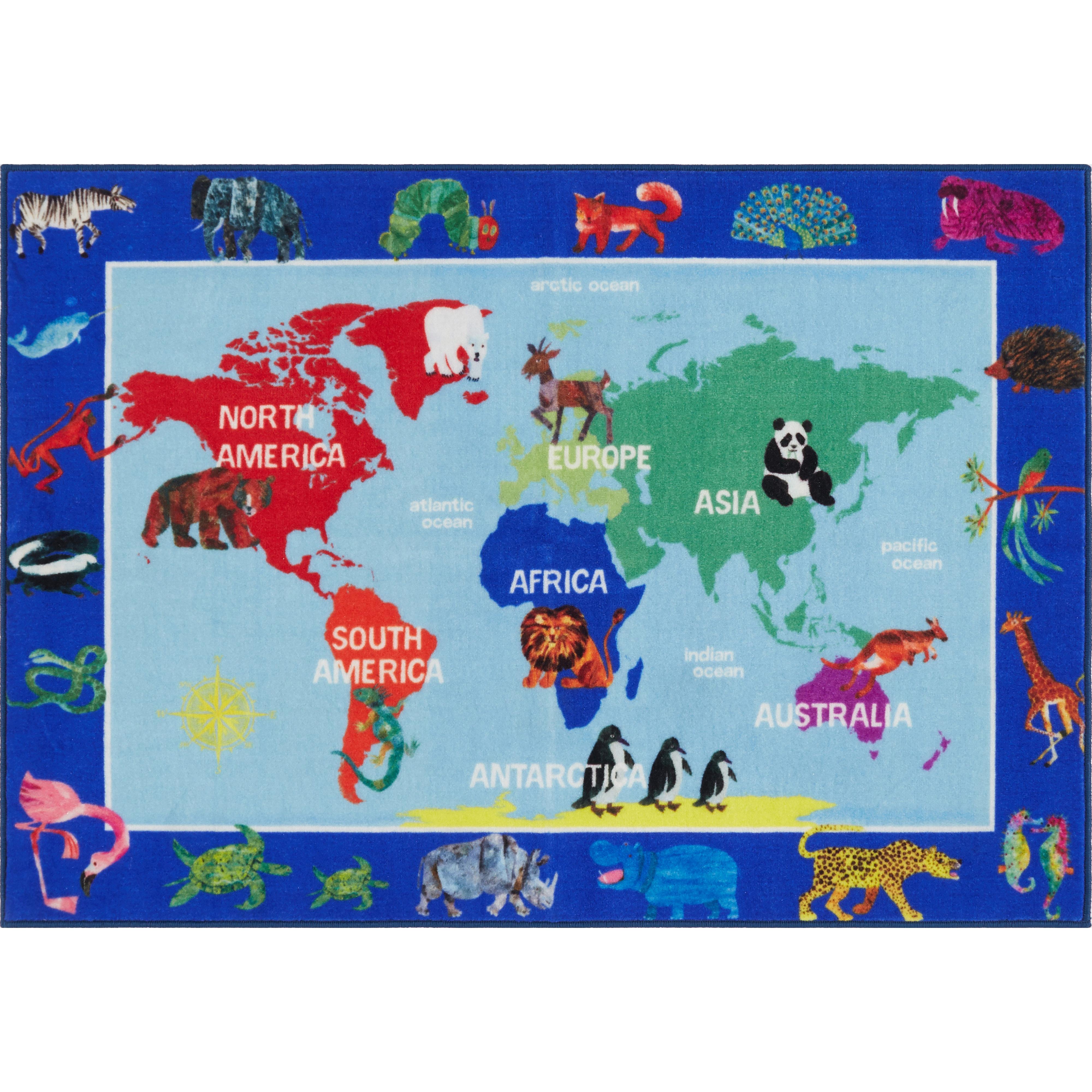 Eric carle world map educational blue area rug wayfair gumiabroncs Gallery