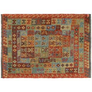 Rosalina Handmade Kilim Wool Rust/Blue Geometric Area Rug