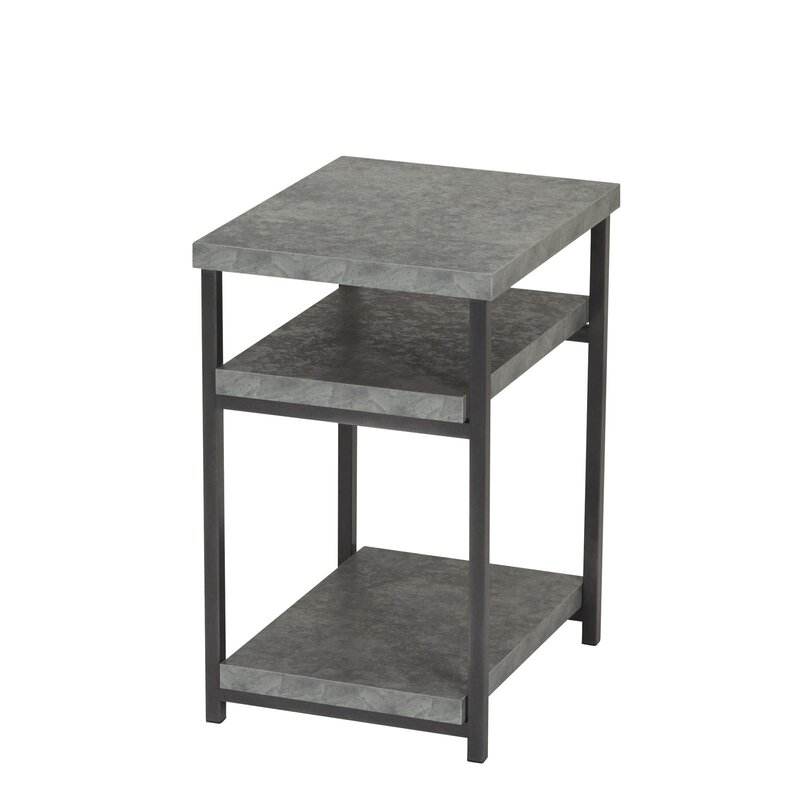 Marvelous Vlad Slate Faux Concrete Low End Table