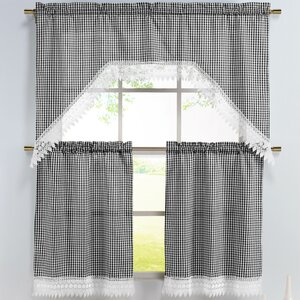 Checkered 3 Piece Embroidered Kitchen Valance and Tier Set