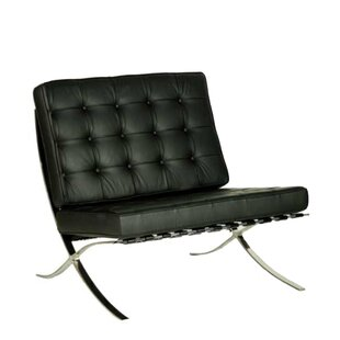 Weaver Contemporary Oversized Leather Faced Slipper Chair