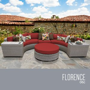 Florence Outdoor Wicker 6 Piece Sectional Seating Group with Cushion