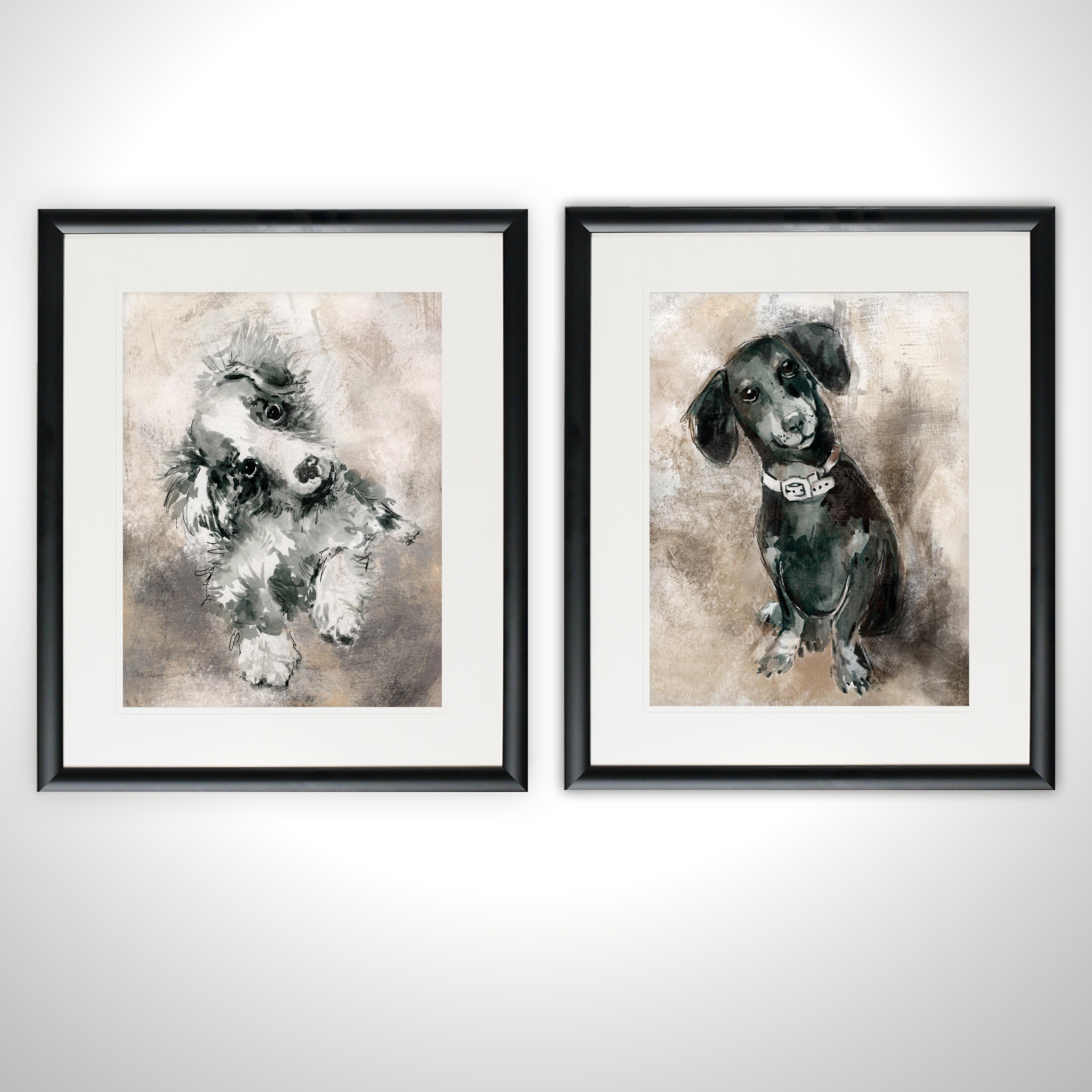 'Sketchy Study Collie' 2 Piece Framed Print Set