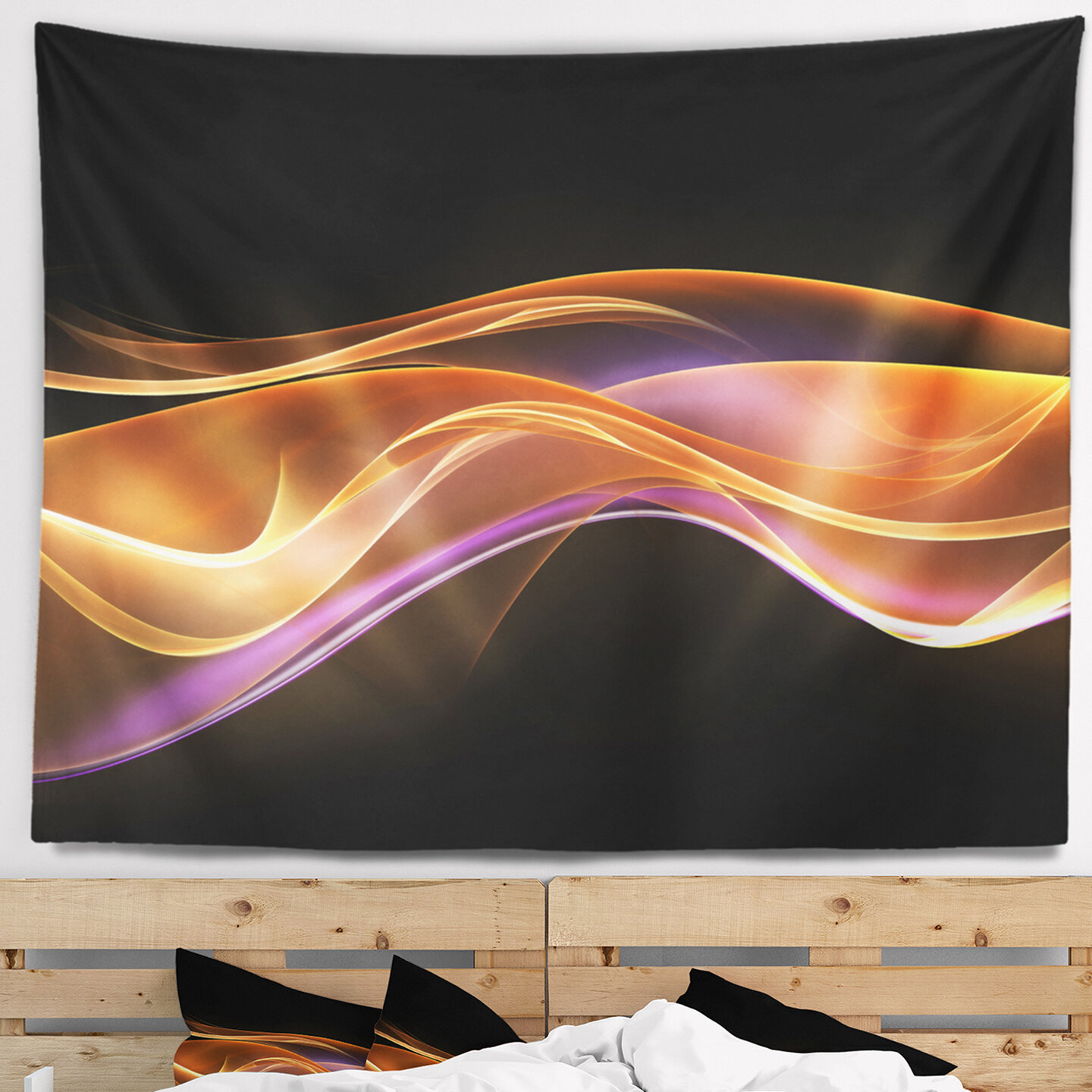 Home Design 3d Gold: East Urban Home Abstract 3D Gold Pink Wave Design Tapestry