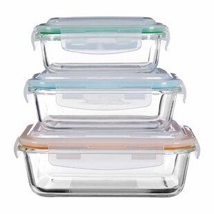 Rectangular Glass 3 Piece Food Storage Set  sc 1 st  Wayfair & Glass Food Containers | Wayfair.co.uk