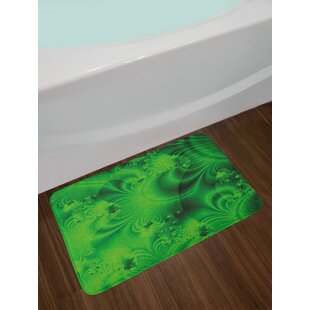 Ambesonne Lime Green Bath Mat by, Vibrant Abstract Hazy Psychedelic Wavy Colour Background Hippie Digital Artificial, Plush Bathroom Decor Mat with Non Slip ...