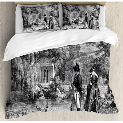 Vintage Historical French Revolution Sketch With Napoleon And Woman In Garden Artwork Duvet Set