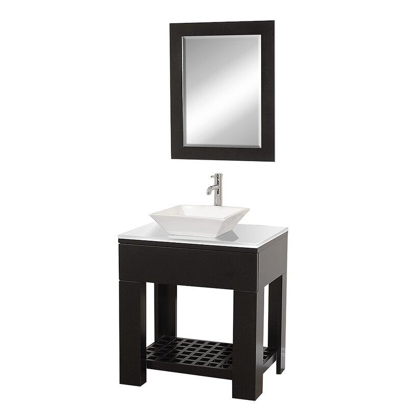 """Zen Bathroom Mirror wyndham collection zen ii 30"""" single bathroom vanity set with"""
