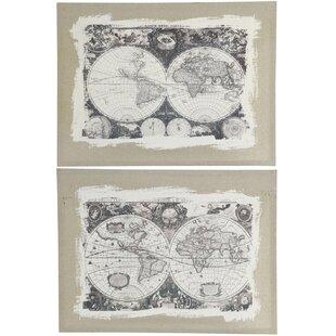 Grey world map wayfair whittier world map 2 piece set on canvas gumiabroncs Images