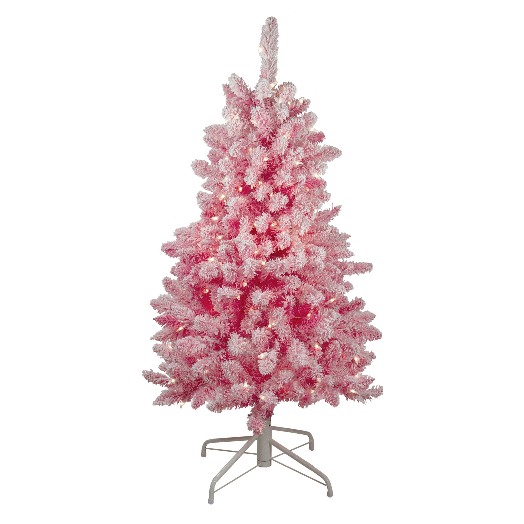 Pre Lit Flocked 4 Pink Pine Artificial Christmas Tree With 200 Clear Lights