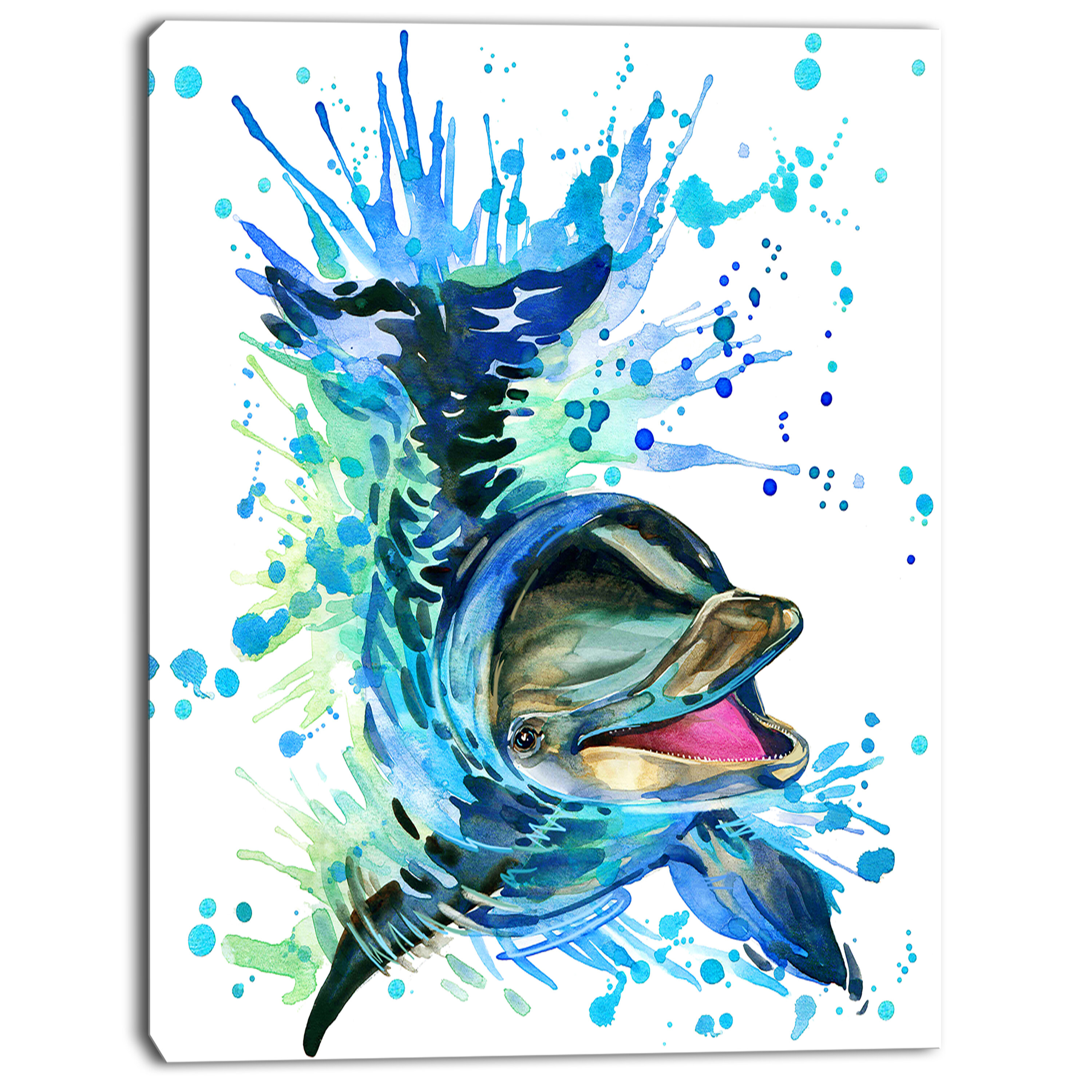 b465efc9882 DesignArt 'Large Blue Dolphin Watercolor' Painting Print on Wrapped Canvas  & Reviews | Wayfair