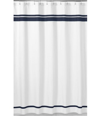 Sweet Jojo Designs Hotel Cotton Single Shower Curtain Color: White / Navy