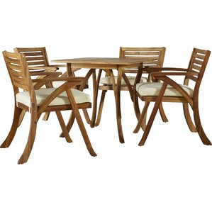 Dunston 5 Piece Dining Set With Cushion