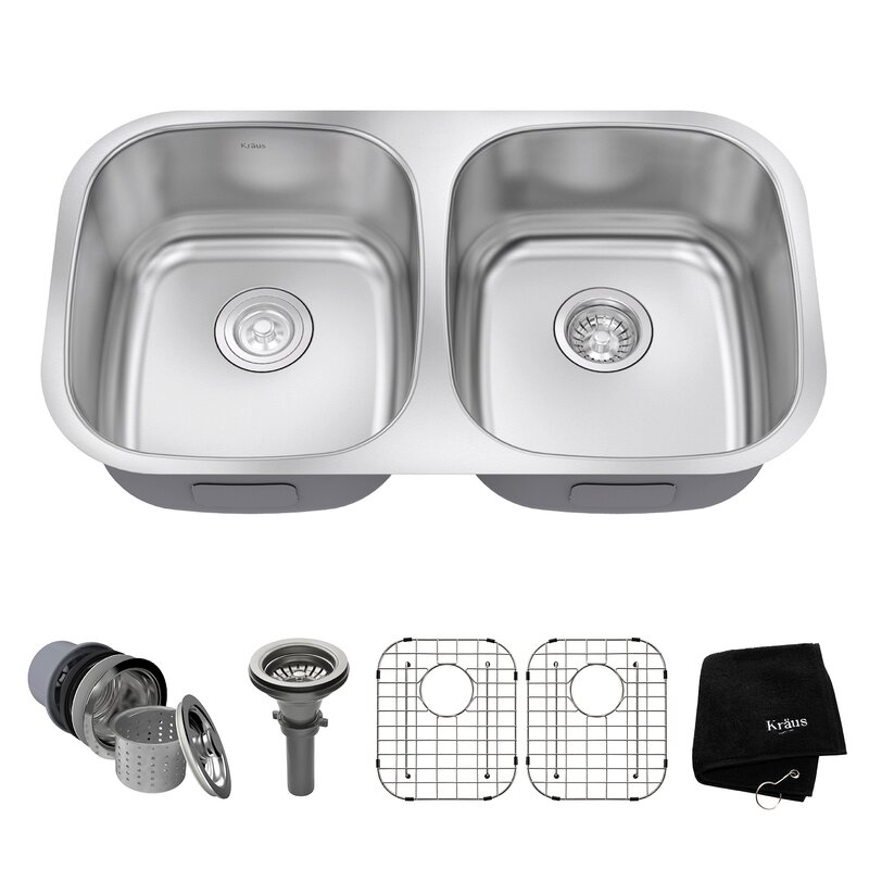 Kraus 32 Quot X 18 Quot Double Basin Undermount Kitchen Sink With
