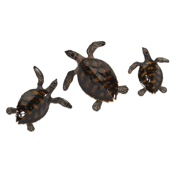 Turtle Wall Decor imax swanson 3 piece sea turtle wall décor set & reviews | wayfair