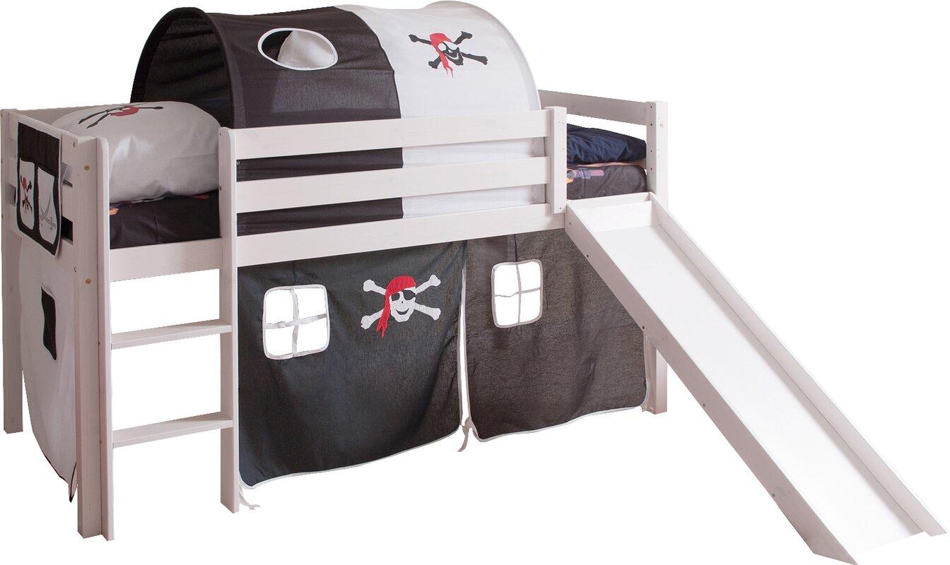 ticaa halbhochbett mit rutsche matratze und textilien 90 x 200 cm bewertungen. Black Bedroom Furniture Sets. Home Design Ideas