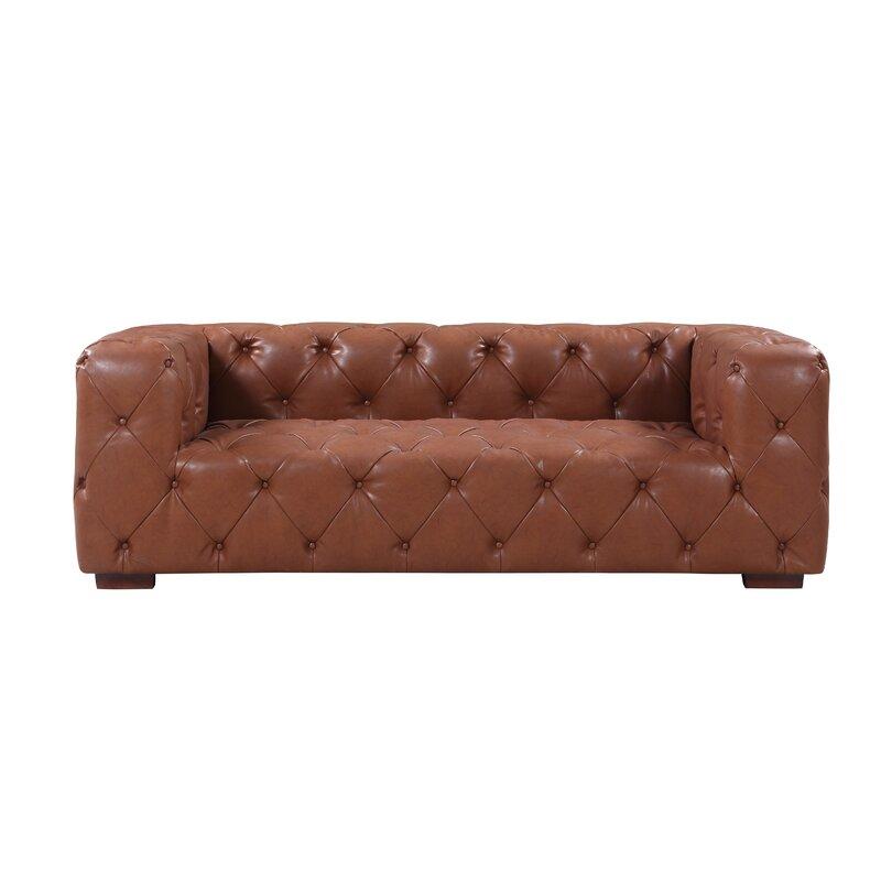 17 Stories Hamlin Modern Leather Sofa & Reviews | Wayfair