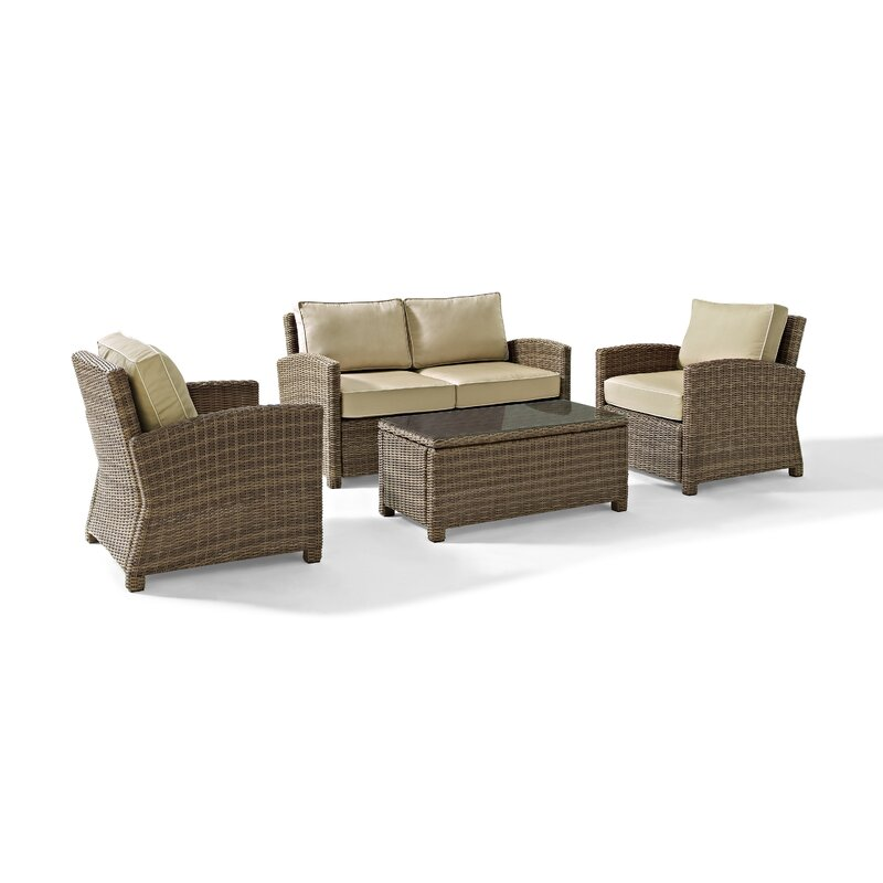 Dardel 4 Piece Rattan Sofa Seating Group with Cushions & Reviews ...