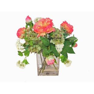 Faux pink flowers in vase wayfair faux pink peonies and snowballs in glass vase mightylinksfo