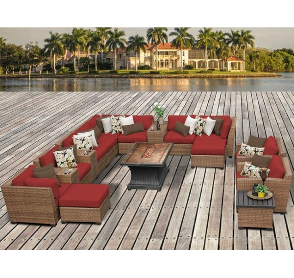 TK Classics Laguna Outdoor Wicker Patio 17 Piece Fire Pit Seating Group  With Cushion U0026 Reviews | Wayfair