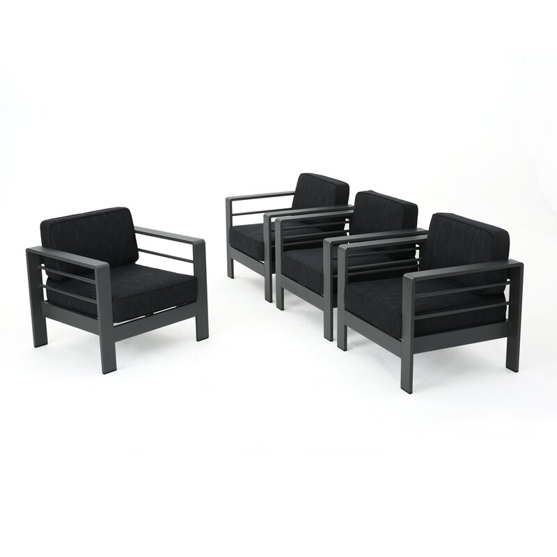 Royalston Contemporary Aluminum Chair With Cushions
