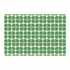 Celtic Crosses Pattern Green Area Rug