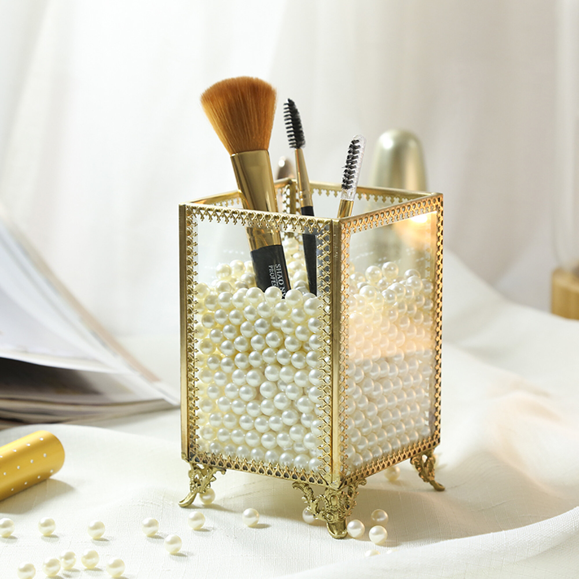 719a08194683 Condon Glass and Pearls Brush Holder Cosmetic Organizer.