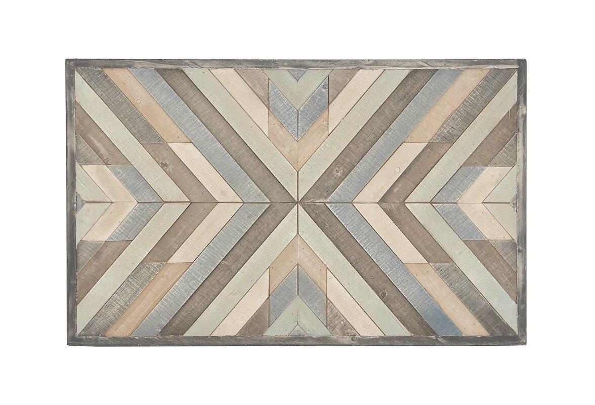 Rustic Chevron Framed Graphic Art Print On Wood In Gray