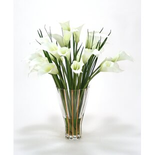 Fake tall flowers wayfair white calla lilies in tall fluted vase mightylinksfo Gallery