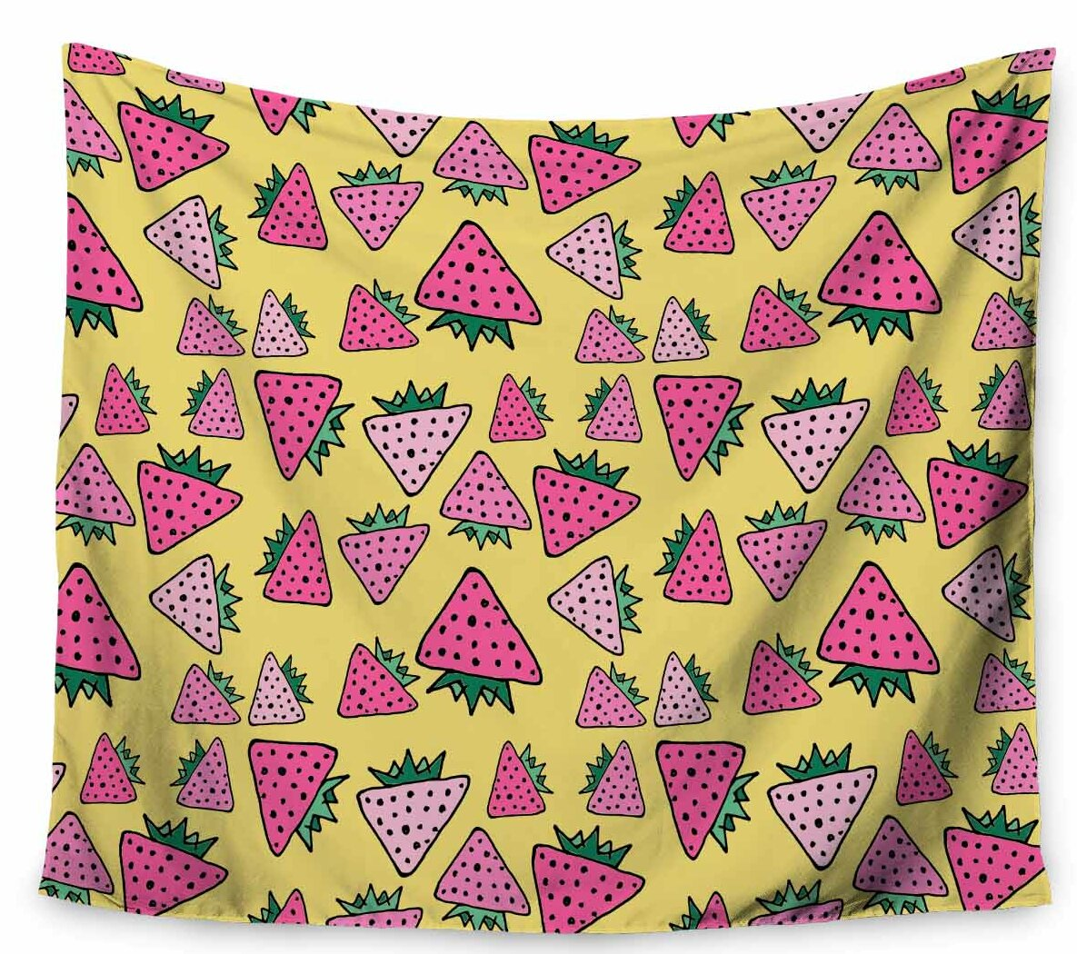 East Urban Home Bruxamagica Strawberry Yellow Tapestry and Wall ...
