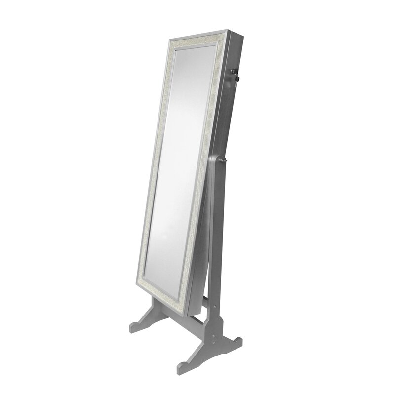 mirror armoire. rainer crystal-bordered rectangular jewelry armoire with mirror e