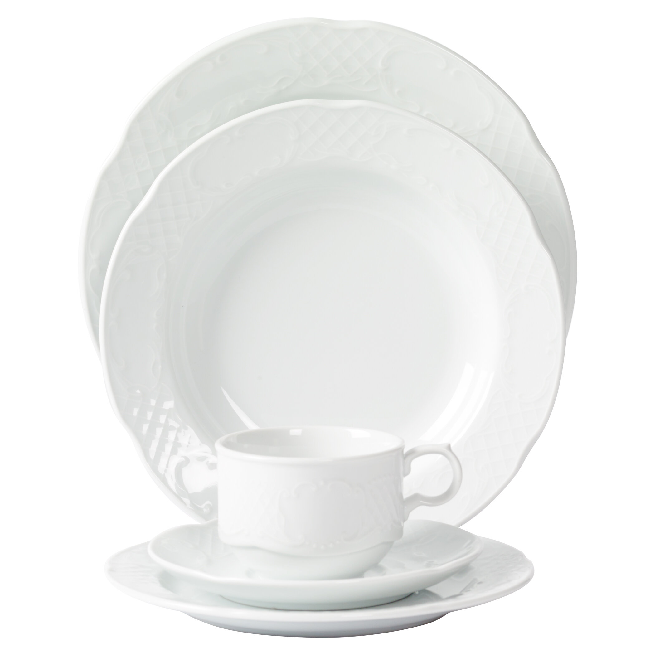 Mitterteich Flora Scalloped Embossed Porcelain 20 Piece Dinnerware Set Service for 4 | Wayfair  sc 1 st  Wayfair & Mitterteich Flora Scalloped Embossed Porcelain 20 Piece Dinnerware ...