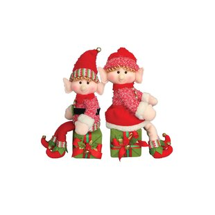 2 piece elf on a box stuffed holiday accent set - Elf Christmas Decorations