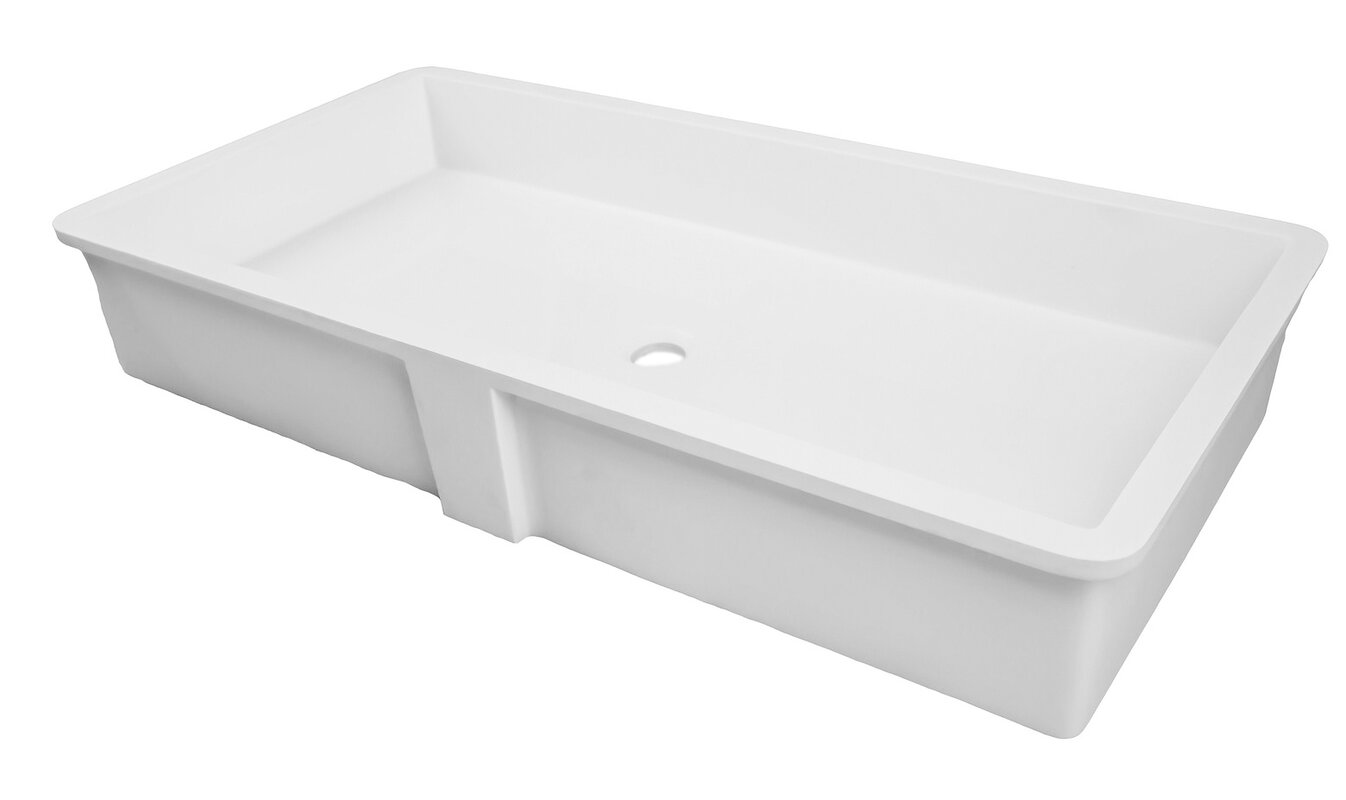 solid surface rectangular undermount bathroom sink with overflow