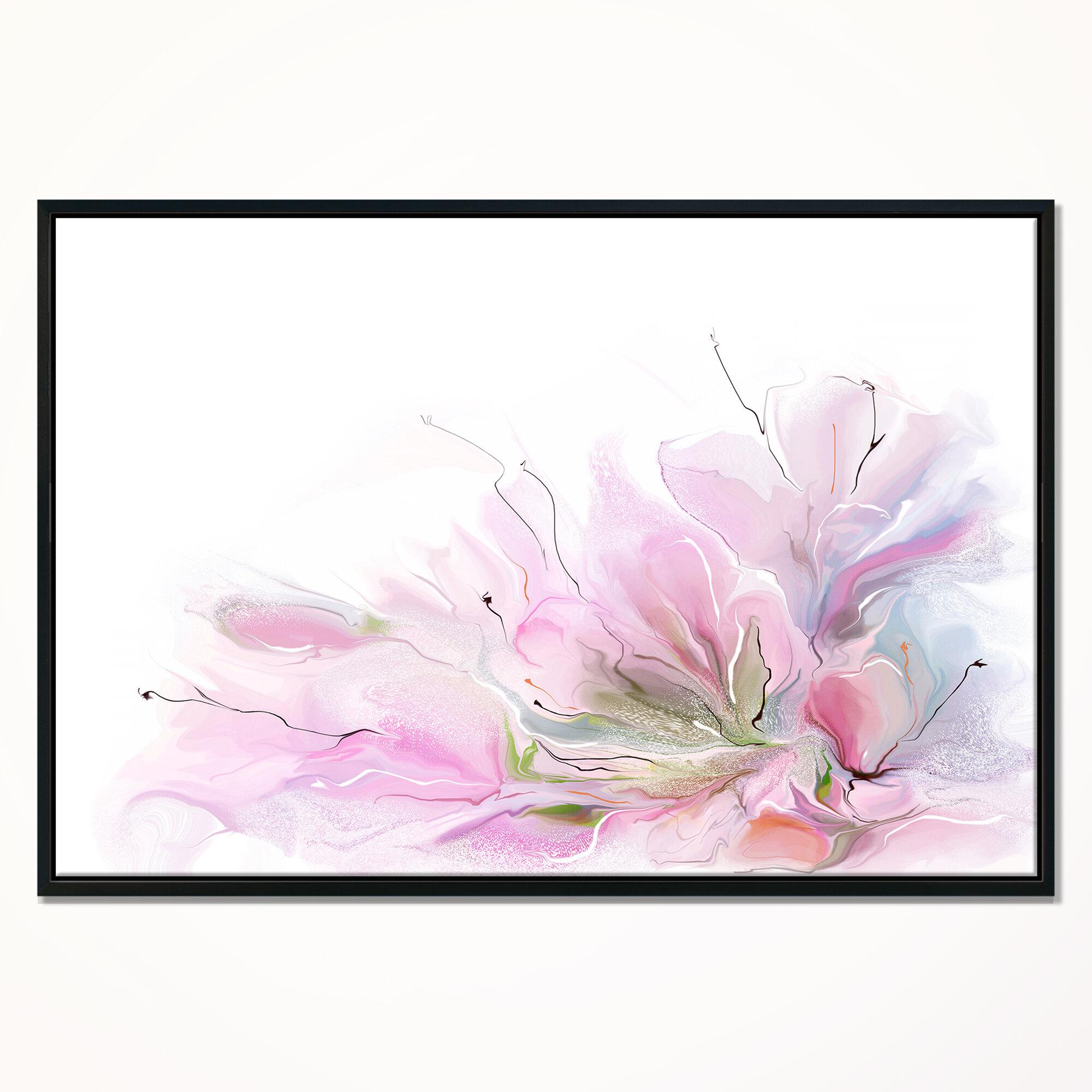 East Urban Home Lovely Pink Flowers Framed Graphic Art Print On