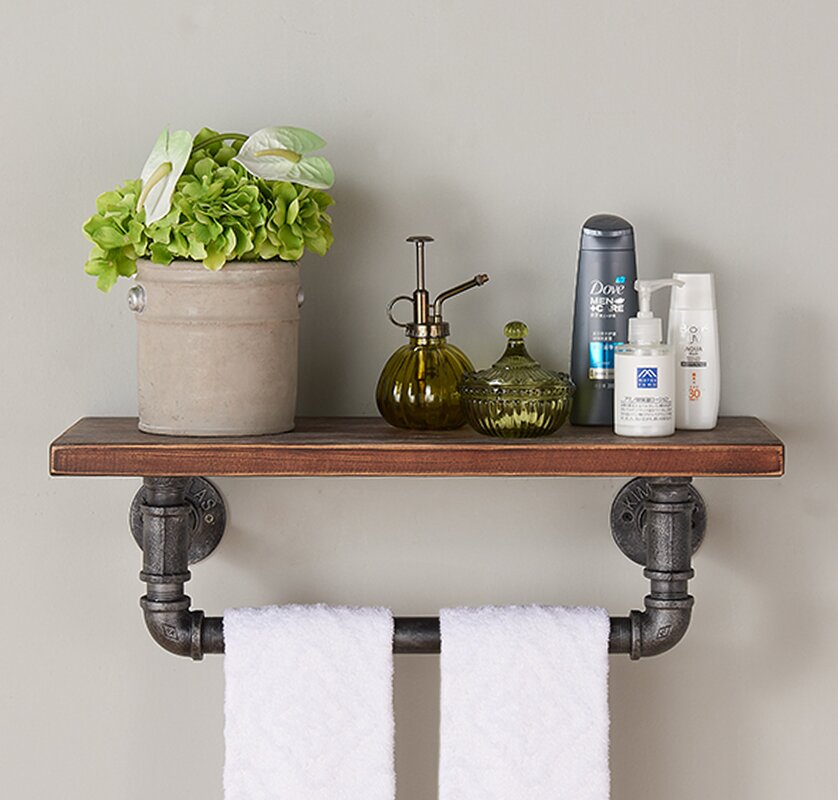 Wood And Metal Wall Shelves trent austin design industrial wood and metal floating wall shelf