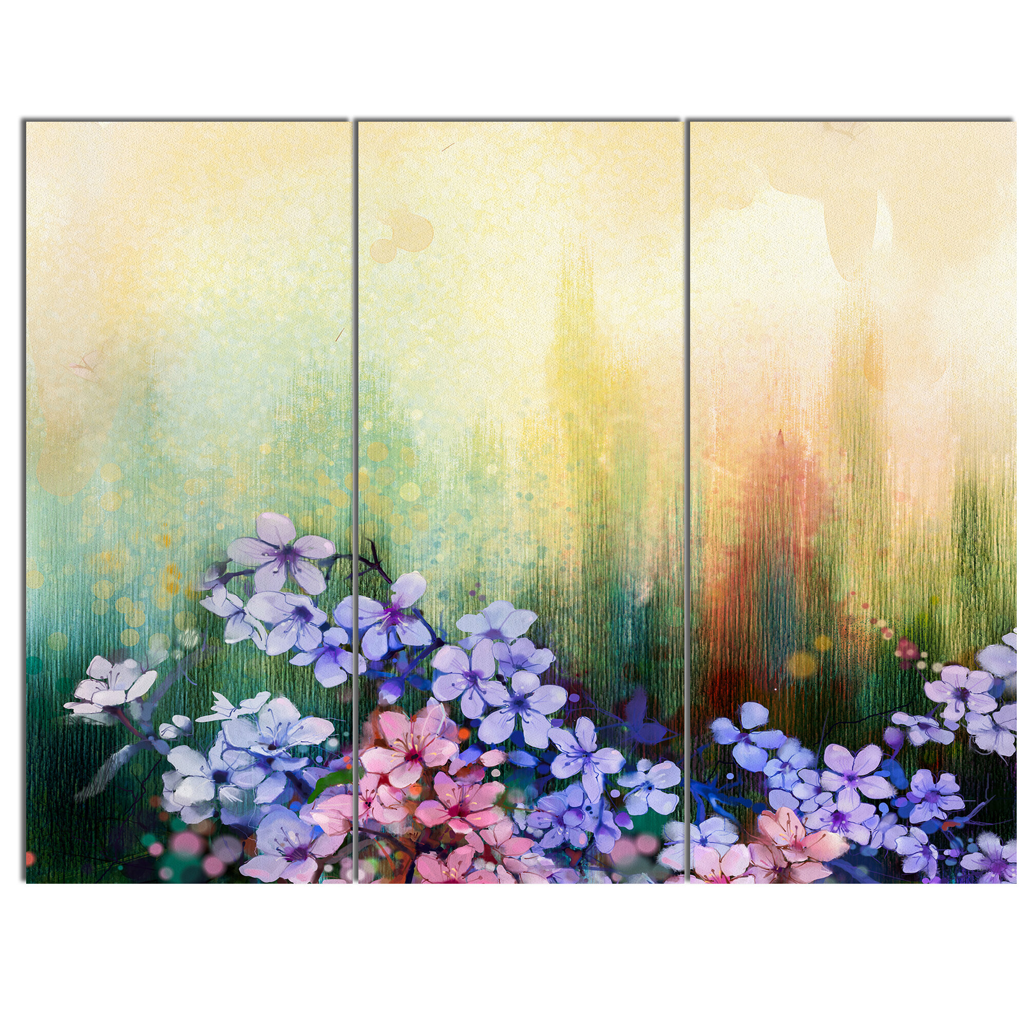 DesignArt \'Pink Sakura Flowers in Soft Color\' 3 Piece Wall Art on ...