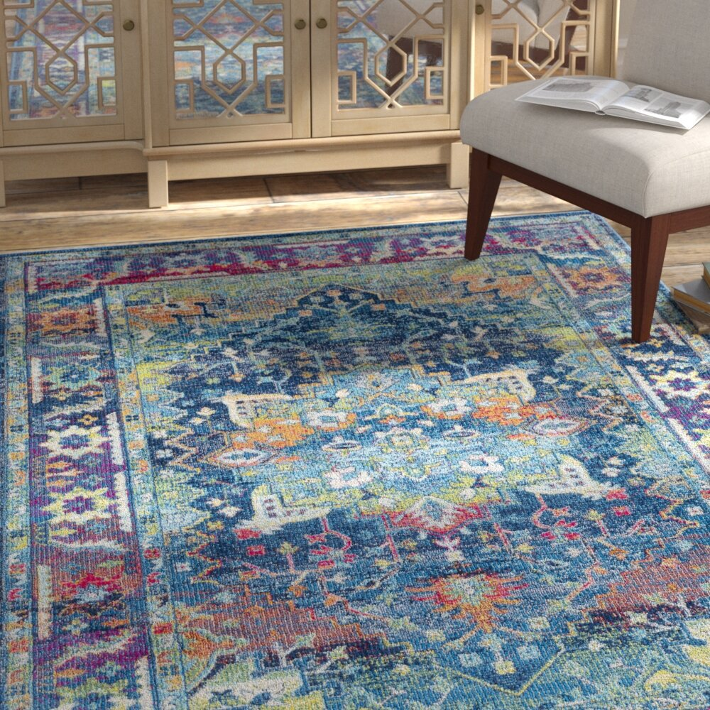 rugs rug blue coral stylish bright colorful area in floral