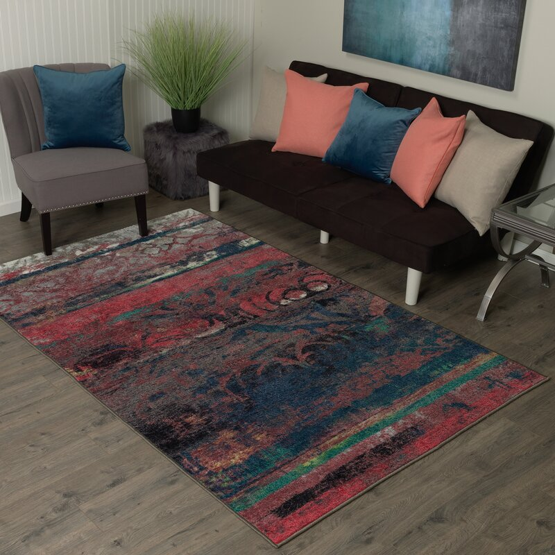 Vermont Eroded Pink Green Black Area Rug