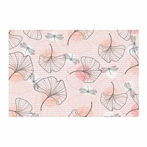 Mmartabc Pattern Flowers and Dragonflies Illustration Pink/Gray Area Rug