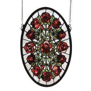 Tiffany Rose Garden Stained Glass Window