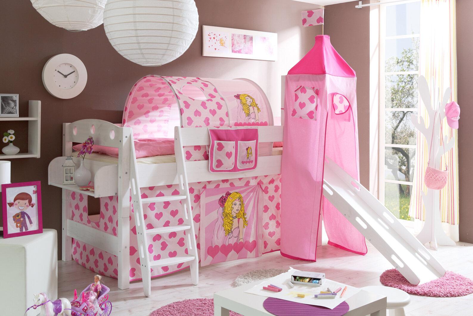 Etagenbett Wayfair : Ticaa hochbett kenny r mit schräger leiter 90 x 200 cm in pink