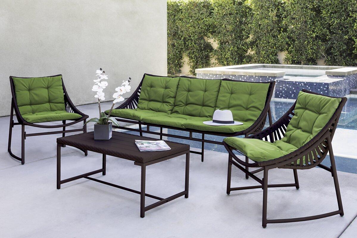 Wrought Studio Crick Indoor/Outdoor 4 Piece Seating Group