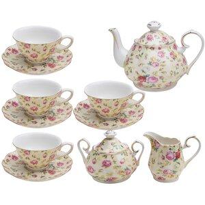 Krause 11 Piece Porcelain Rose Cream Cottage Tea Set